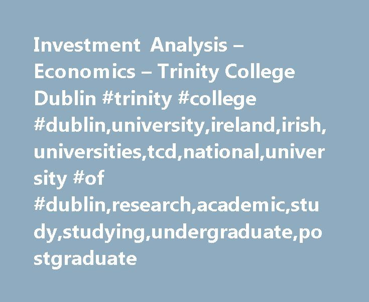 Investment Analysis u2013 Economics u2013 Trinity College Dublin #trinity - investment analysis