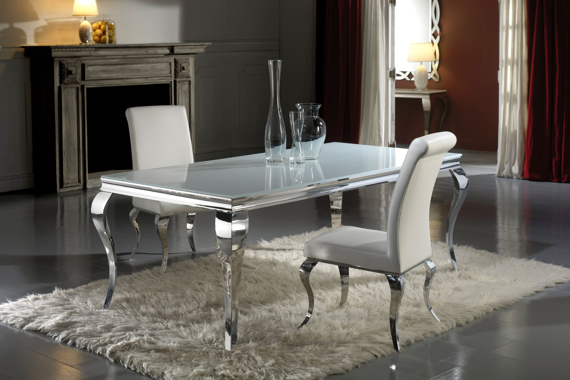 Modern Louis white glass dining table This rectangular dining