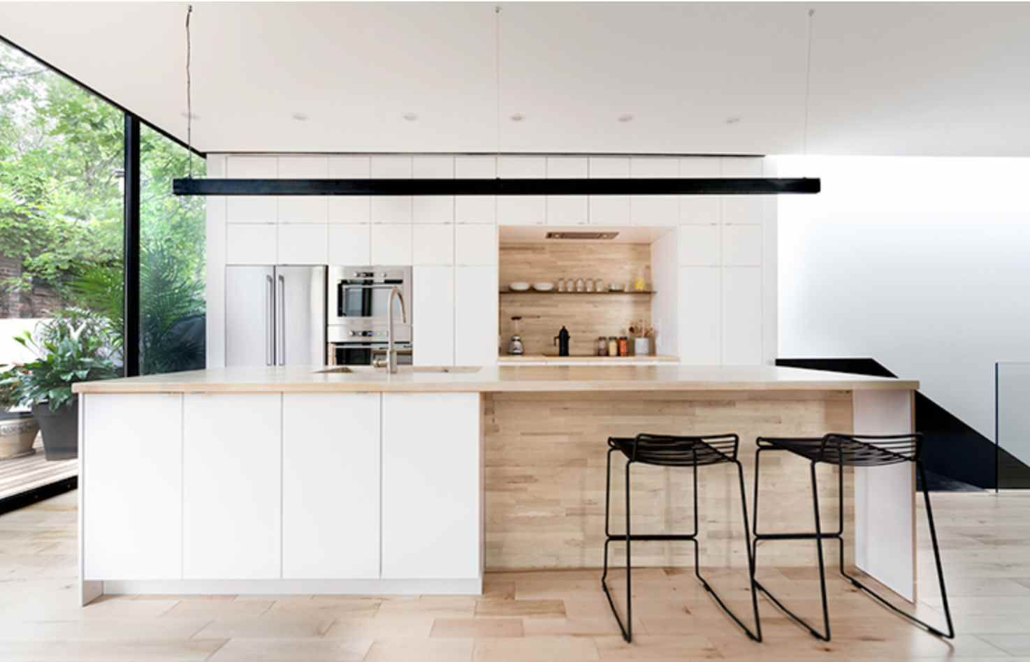 love the white + wood + darkness of the beam | Kitchen | Pinterest ...