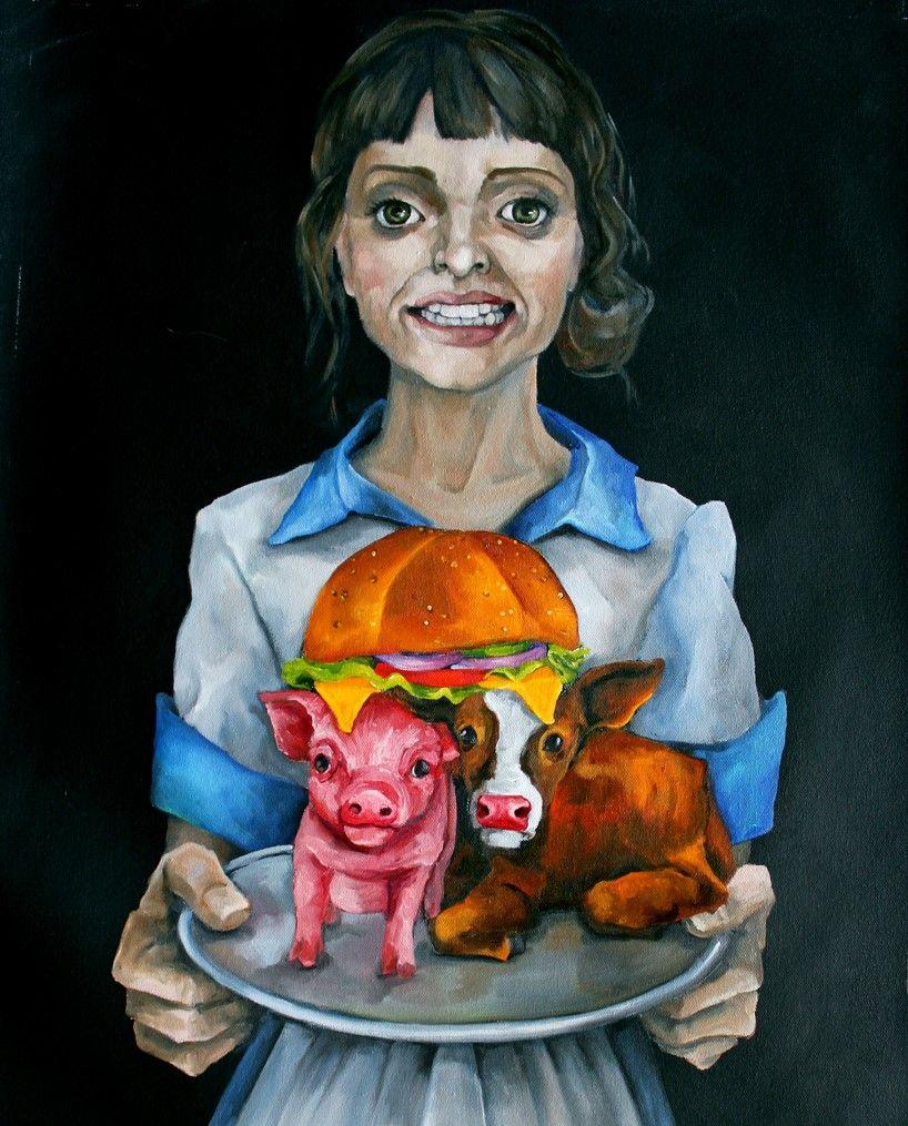 Vegan artist Dana Ellyn painting on Specisism - Truth about your bacon cheeseburger - Vegan Art - Vegan Painting