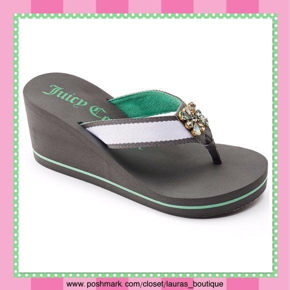 Juicy Couture Gray/Green W/Rhinestones Sandals HPNWT Juicy