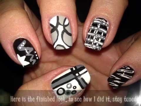 Black White Gray Craze Nail Art Tutorial Nagellak Pinterest