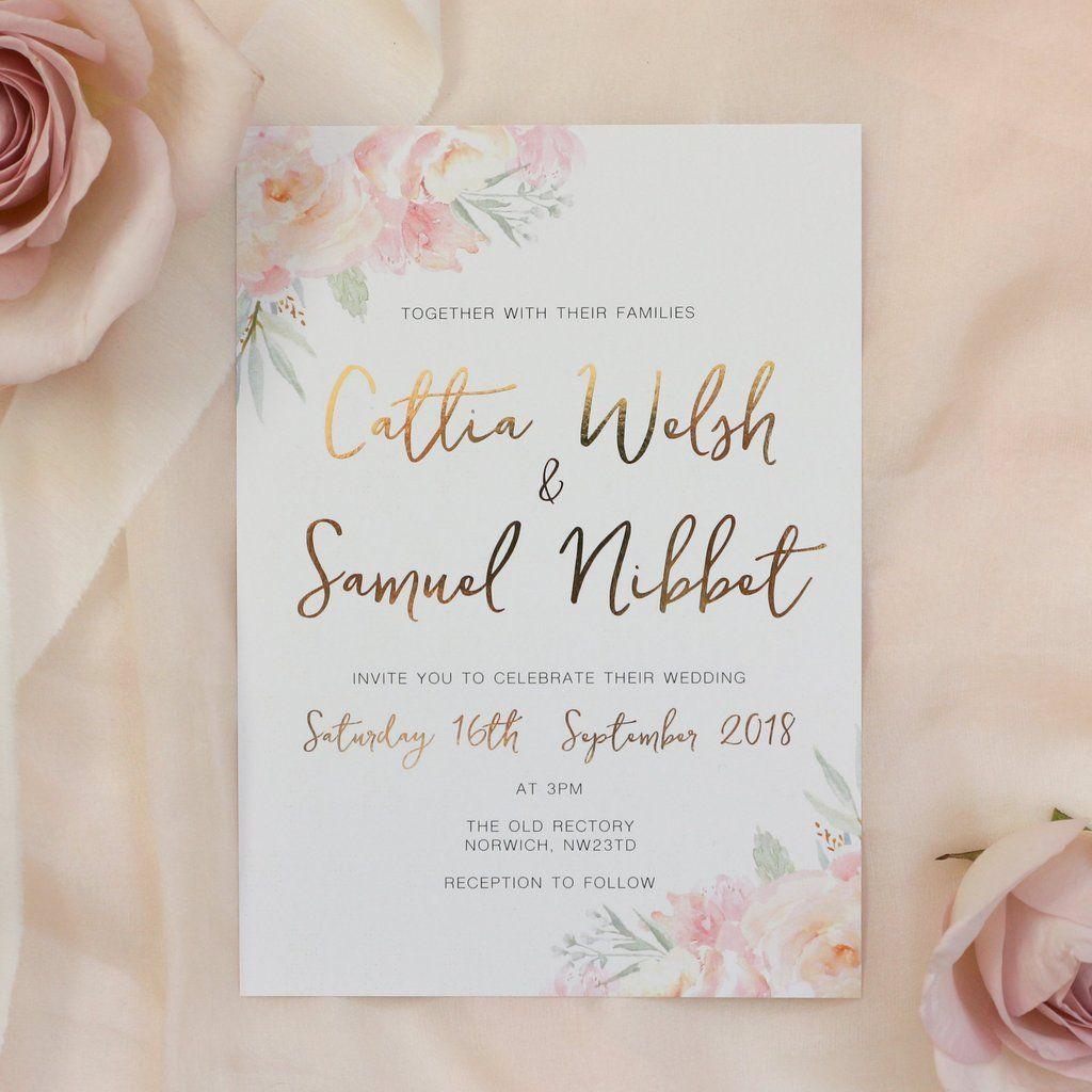 Peony Blush Gold Foil Wedding Invitation Wedding Pinterest