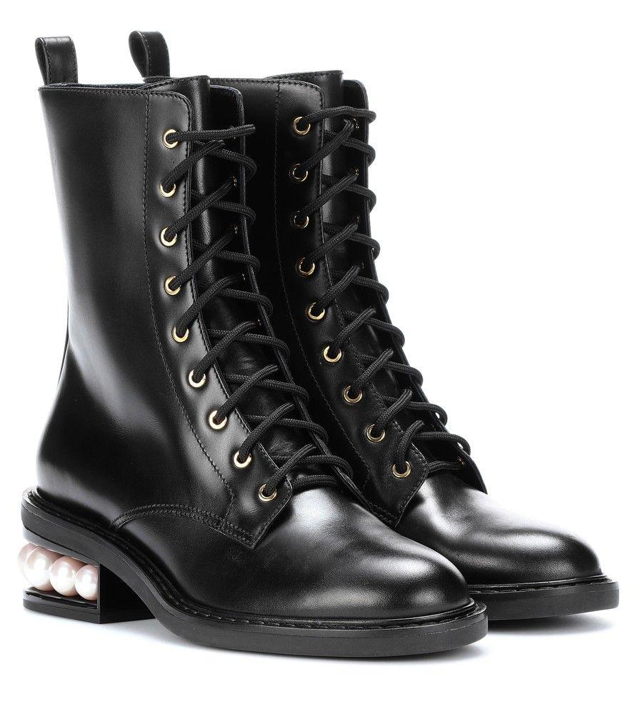 Nicholas Kirkwood Black Suede LouLou Lace-Up Boots