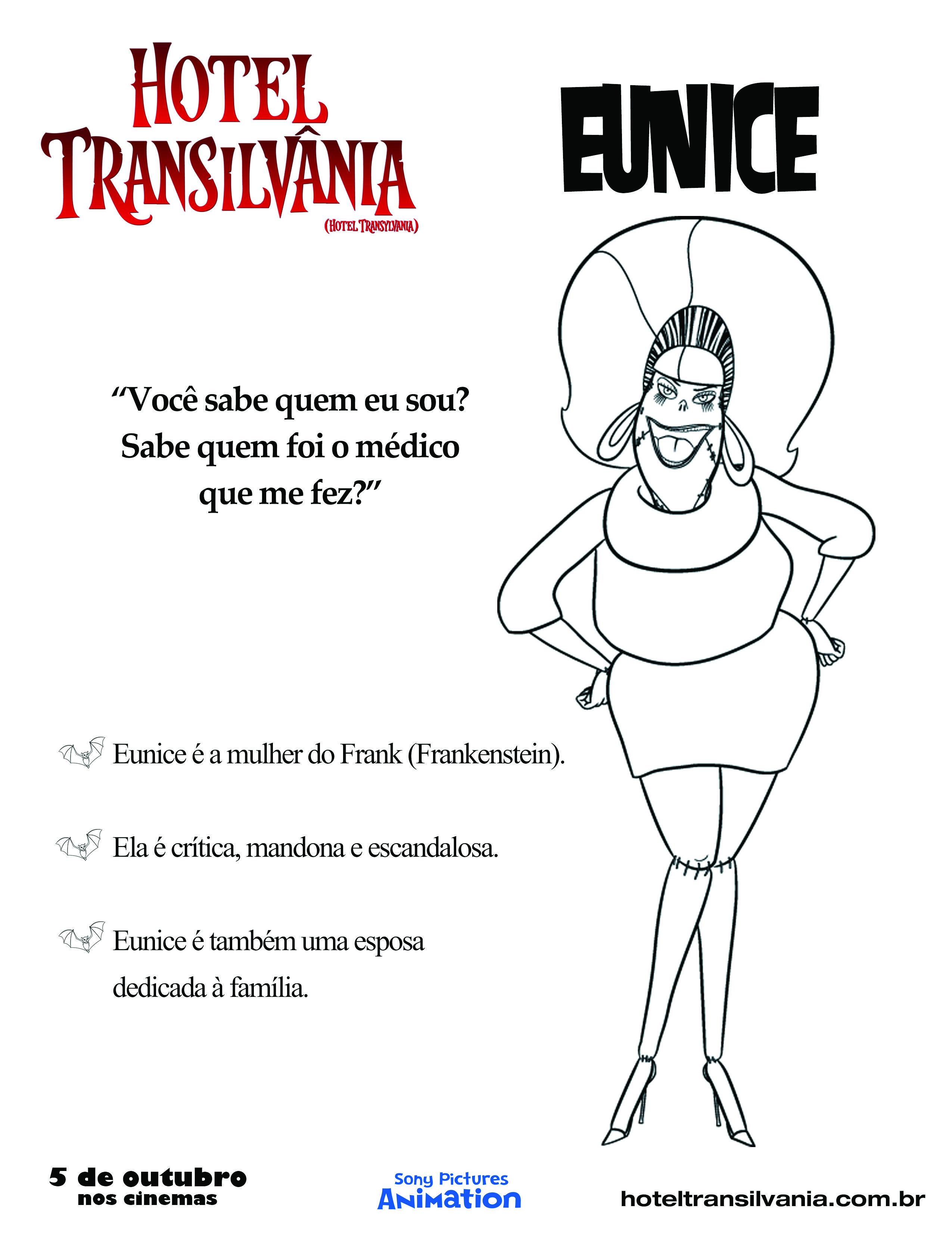 Eunice, a mulher do Frankenstein | Desenhar/Colorir - Hotel ...