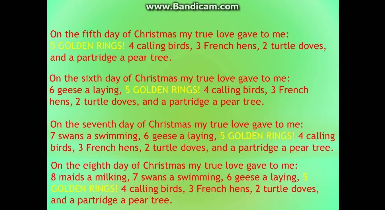 12 Days of Christmas Lyrics Christmas lyrics, 12 days of