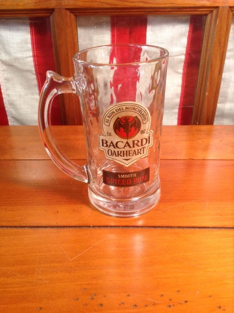 Set of 2 12oz Bacardi Oakheart Smooth Rum Beer Stein Mug Heavy Drinking Glass