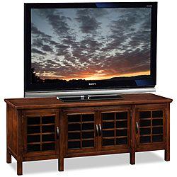 ChocolateBlack Glass 60inch TV Stand Media Console Overstock