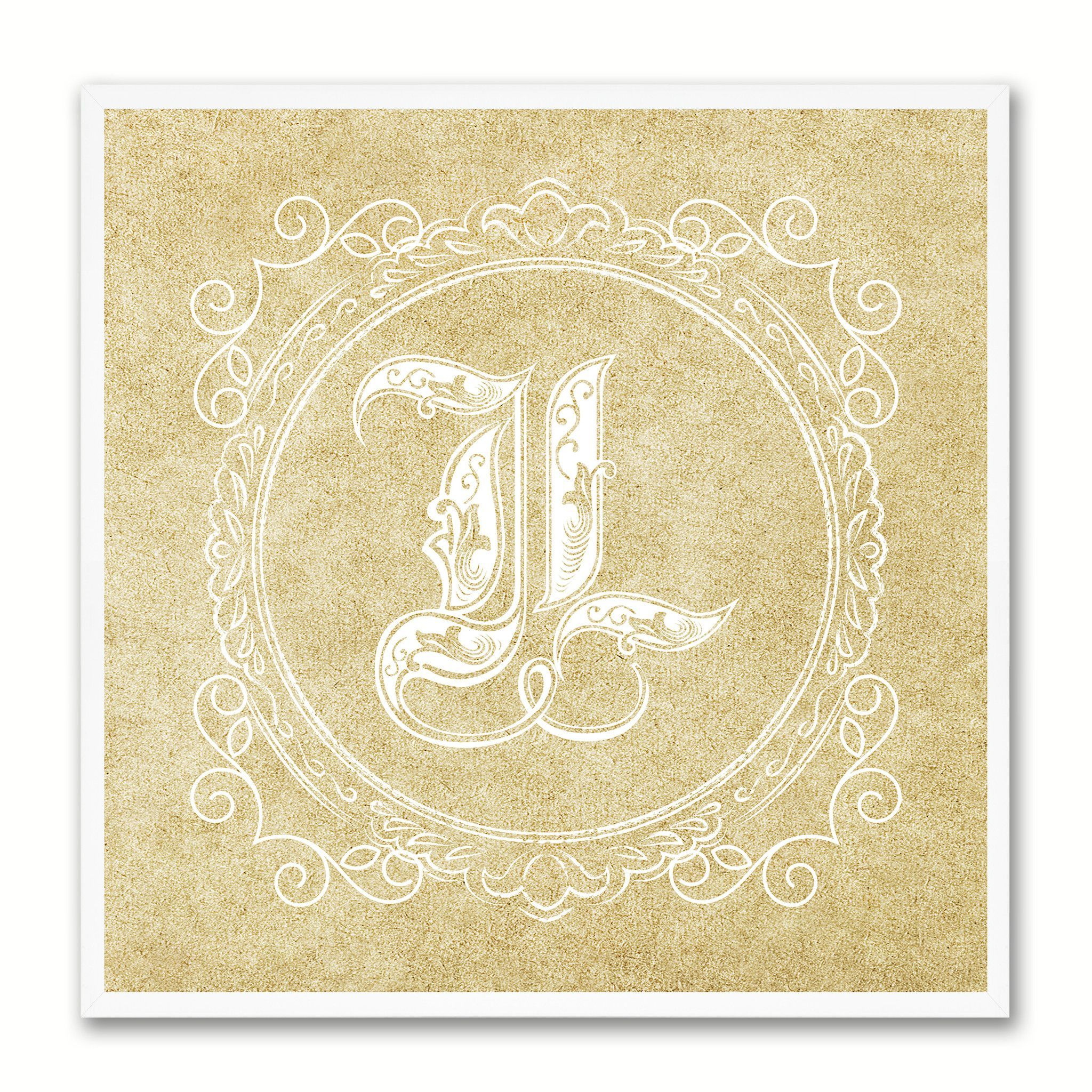 Alphabet Letter L Brown Canvas Print Black Frame Kids Bedroom Wall ...
