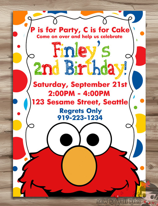 ELMO Invitation Elmo Birthday Invite Sesame Street