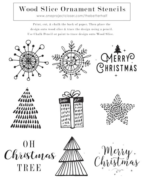 Diy Scented Wood Slice Ornaments With Printable Stencils Oils
