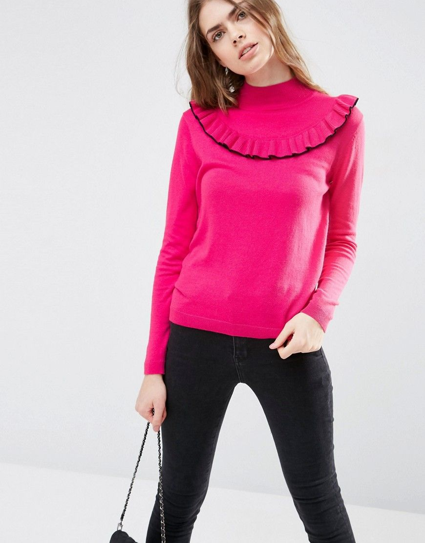 ASOS Sweater with Ruffle Front at asos.com
