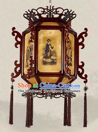 Traditional Chinese Classical Natural Wood And Carved Hanging Palace Lantern Lanterns Chinese Lanterns Handmade Lamps