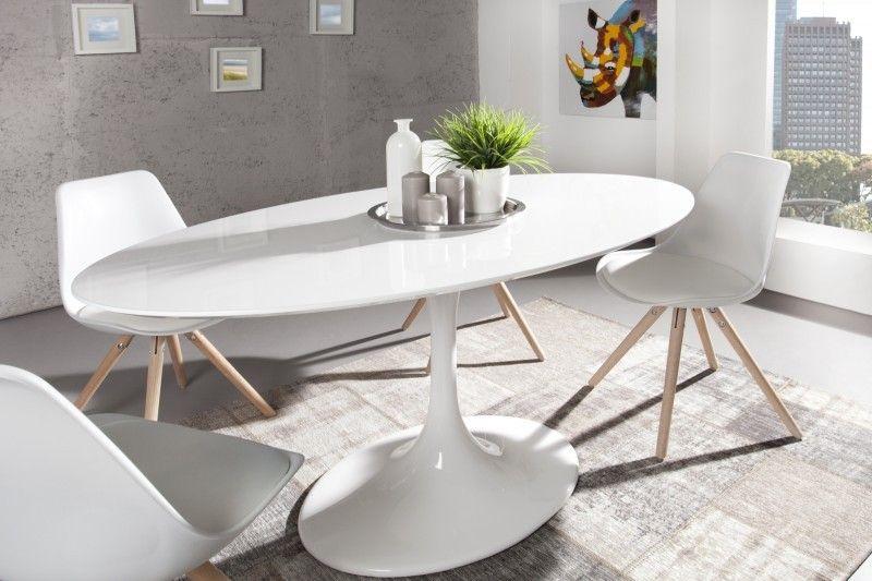 Esstisch weiß hochglanz  Moderner Yacht Design Esstisch Weiß Hochglanz 160 cm Oval von Casa ...