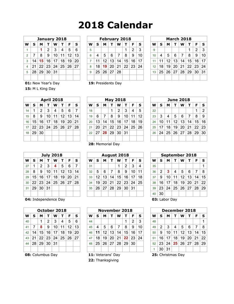 yearly calendar 2018 printable holiday