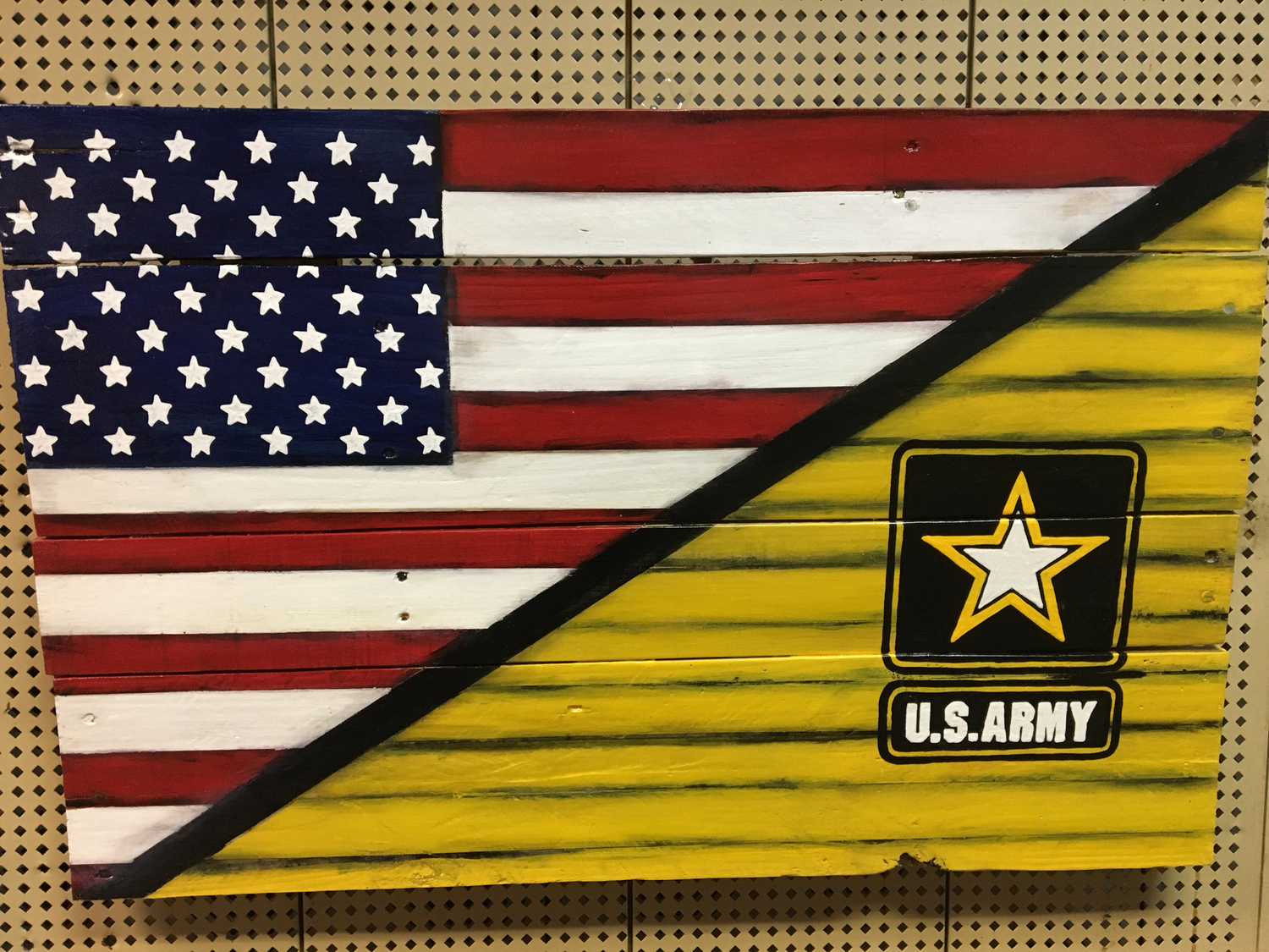 Usa Army Yellow Split Flag 60 00 Canvas Art Painting Acrylic Beer Pong Table Painted Yellow Painting