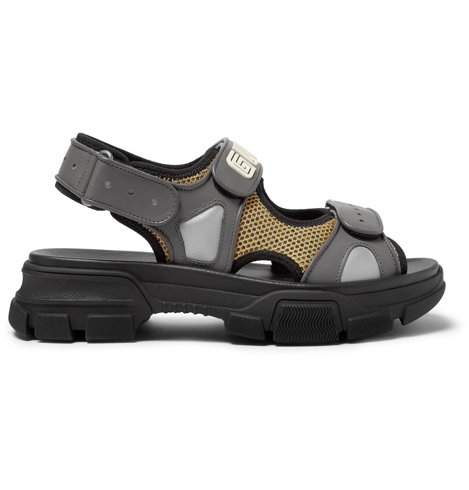 Black Leather And Mesh Sandals Gucci Gucci Leather Sandals Gucci