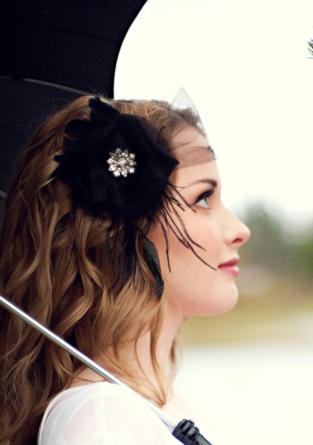 Wedding headpiece flower fascinator black the sabine