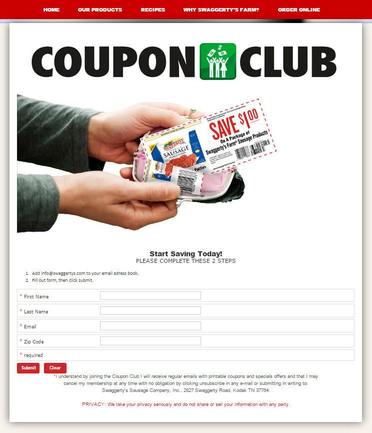 Join The Swaggerty S Farm Coupon Club It S Free Each Month We Send Members Coupons They Can Redeem For Our Premium Saus Coupon Club Coupons Online Coupons