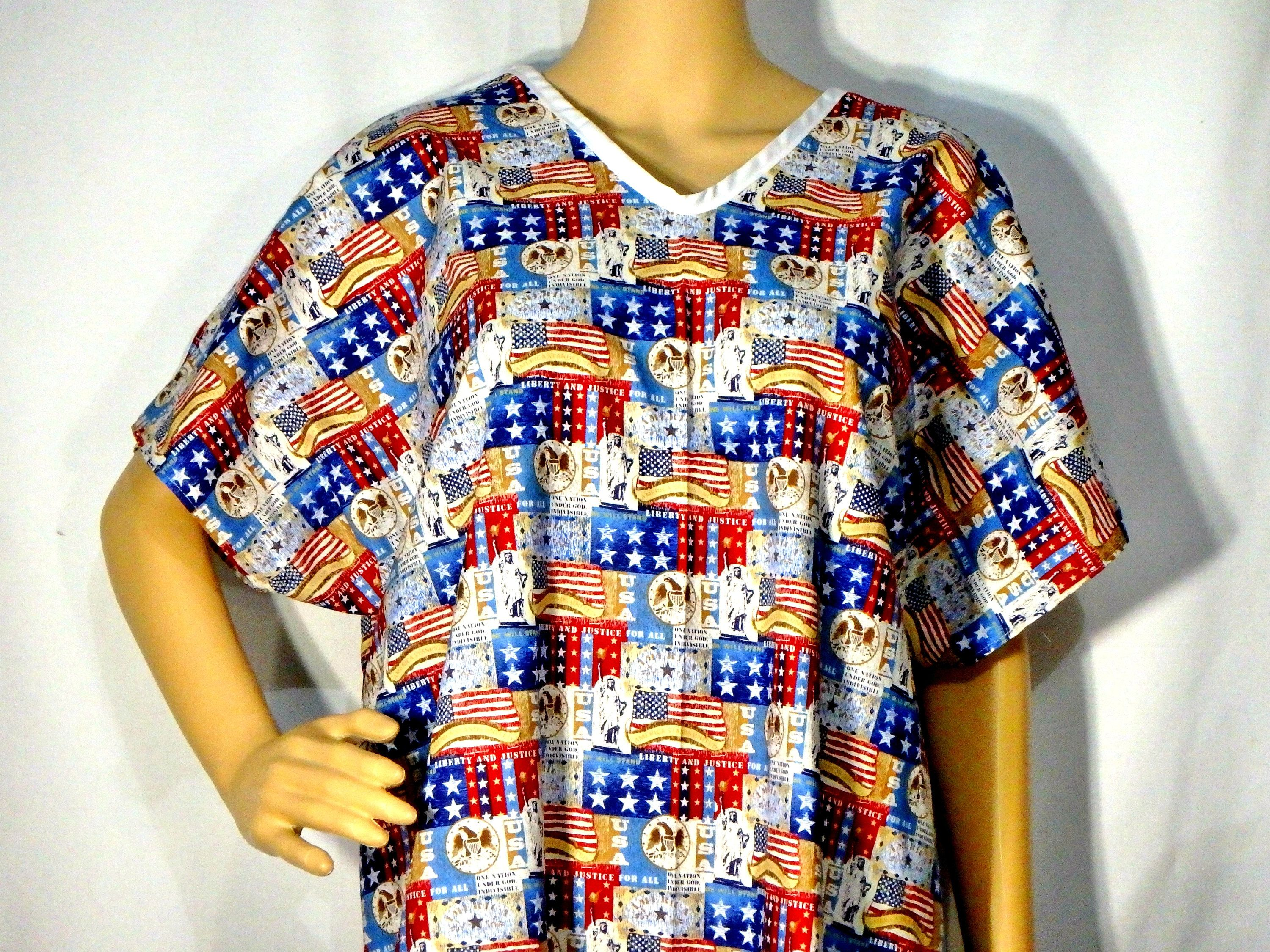 Cotton IV Hospital Gown fits Age 9 to Small or Regular Adult Snaps ...