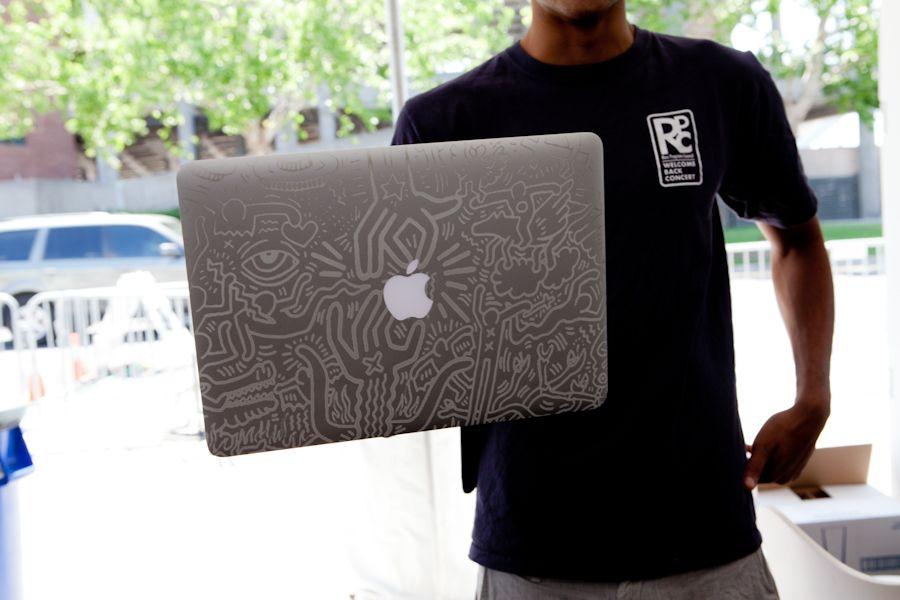 Close-up of MacBook #laser etched at #GE Garages.