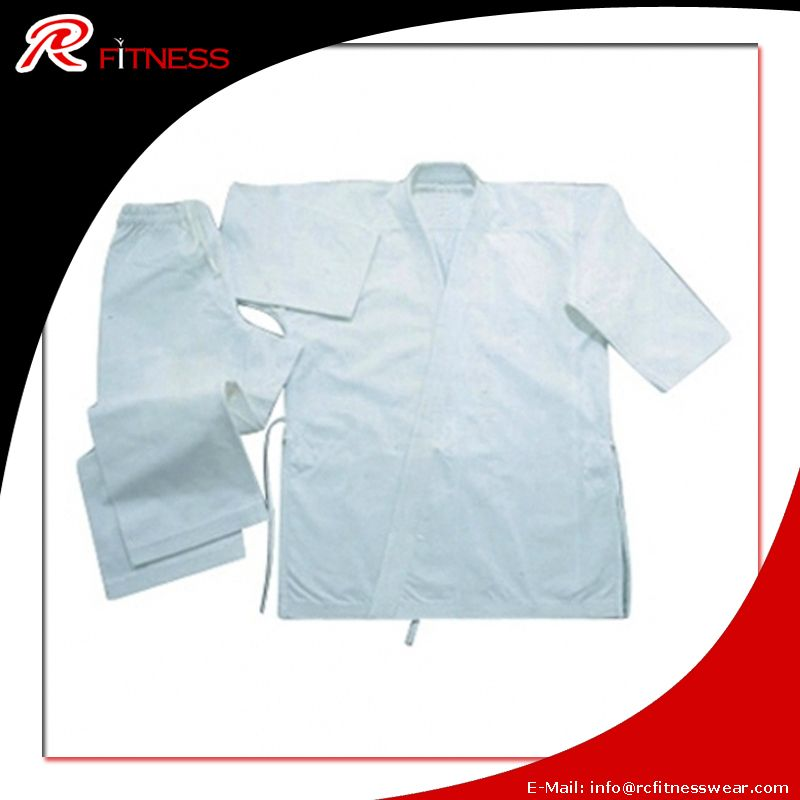 Student Karate Uniform Heavy Weight, 100% cotton, long jacket short sleeve, Pre-shrink quality with elastic waist with belt, 320 Gms.
