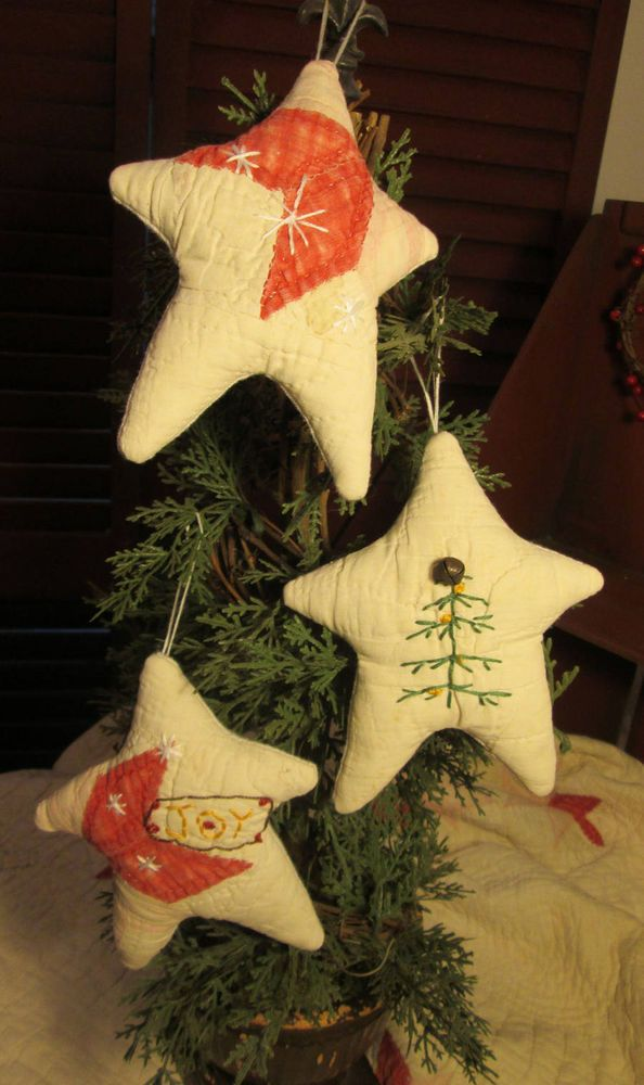Primitive CHRISTMAS STAR Plush Handmade Ornaments - Set of Three - Antique QUILT