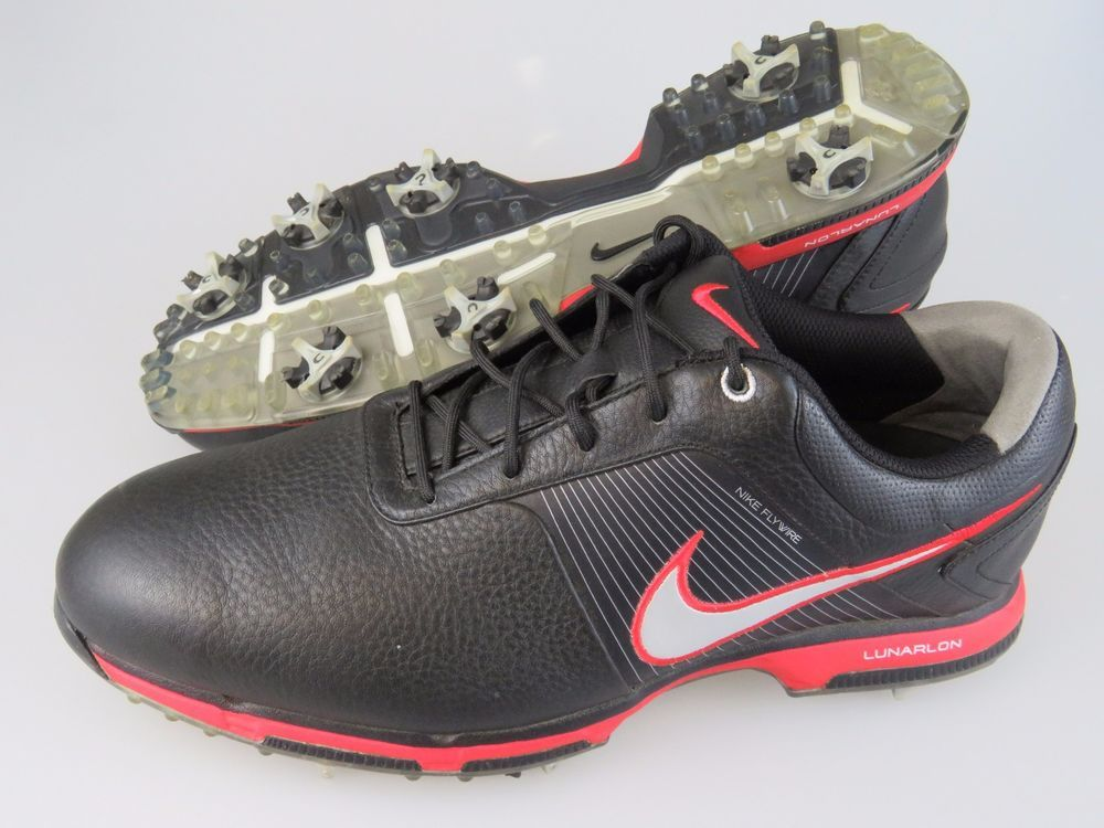 pretty nice 35b9a 524fd NIKE 418471 Flywire Lunarlon Black Red Leather Golf Shoes Men's US Size  11.5 #Nike