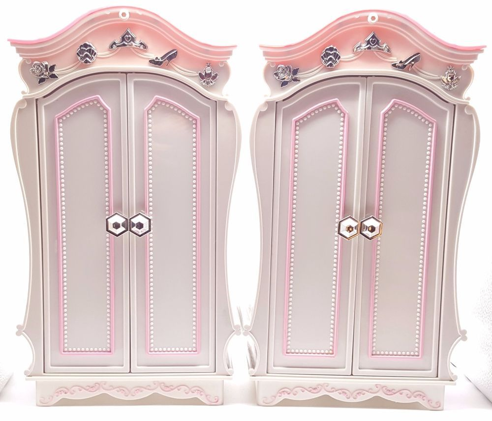 Girls Set Of 2 Disney Princess And Me Pink Royal Wardrobe Closets 18 Inch  Tall #
