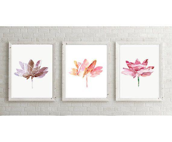 Lotus illustratie  set van 3 giclee prints  door Lemonillustrations