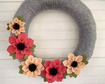 Photo of Spring wreath, neutral wreath, modern spring wreath, summer wreath, pink & white wreath, yarn wreath, felt flower wreath, wedding decor