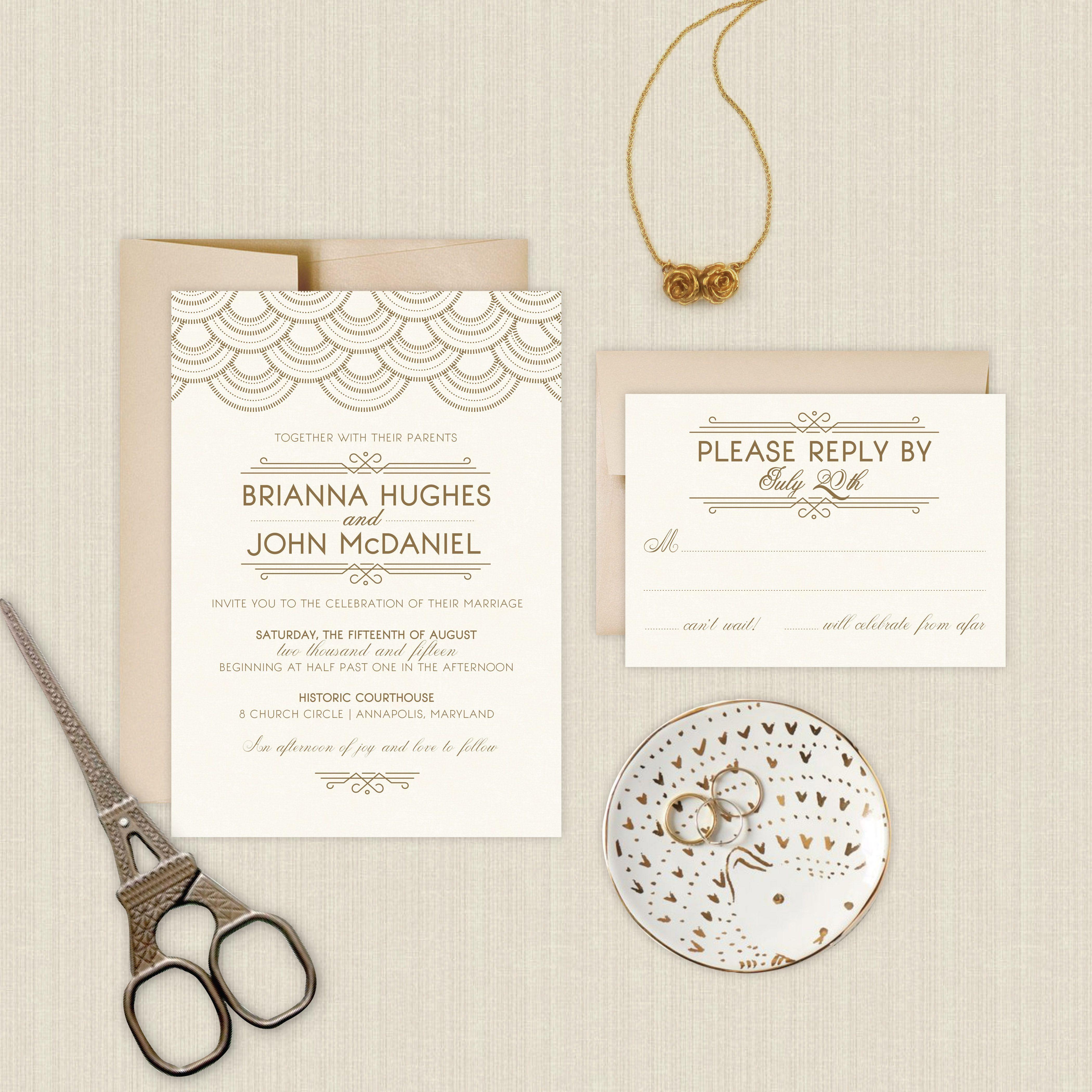 Art Deco Great Gatsby Inspired Wedding Invitations | Gold, Gream ...