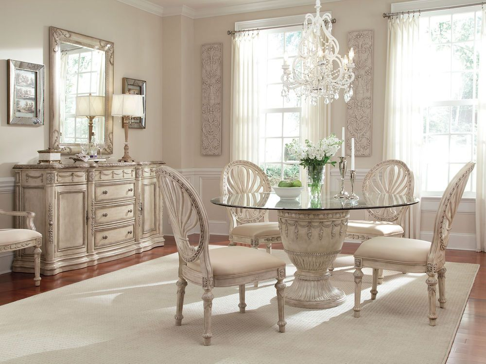 small glass dining room tables   GRANDE PALACE - 5pcs TRADITIONAL ROUND GLASS TOP DINING ...
