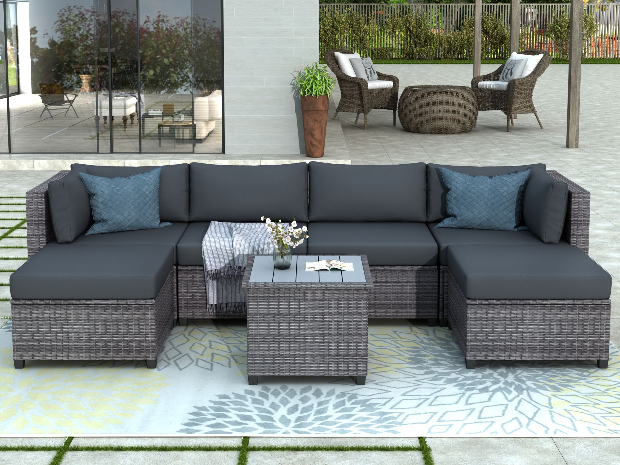 Clearance Outdoor Patio Sectional Sofa Sets Segmart Newest 7 Pieces Wicker Furniture Set With Seat Cushions Polywood Table Conversation Sets With 2 Ottoman In 2020 Backyard Furniture Small Patio Furniture Teak Patio Furniture - Grey Garden Furniture Clearance
