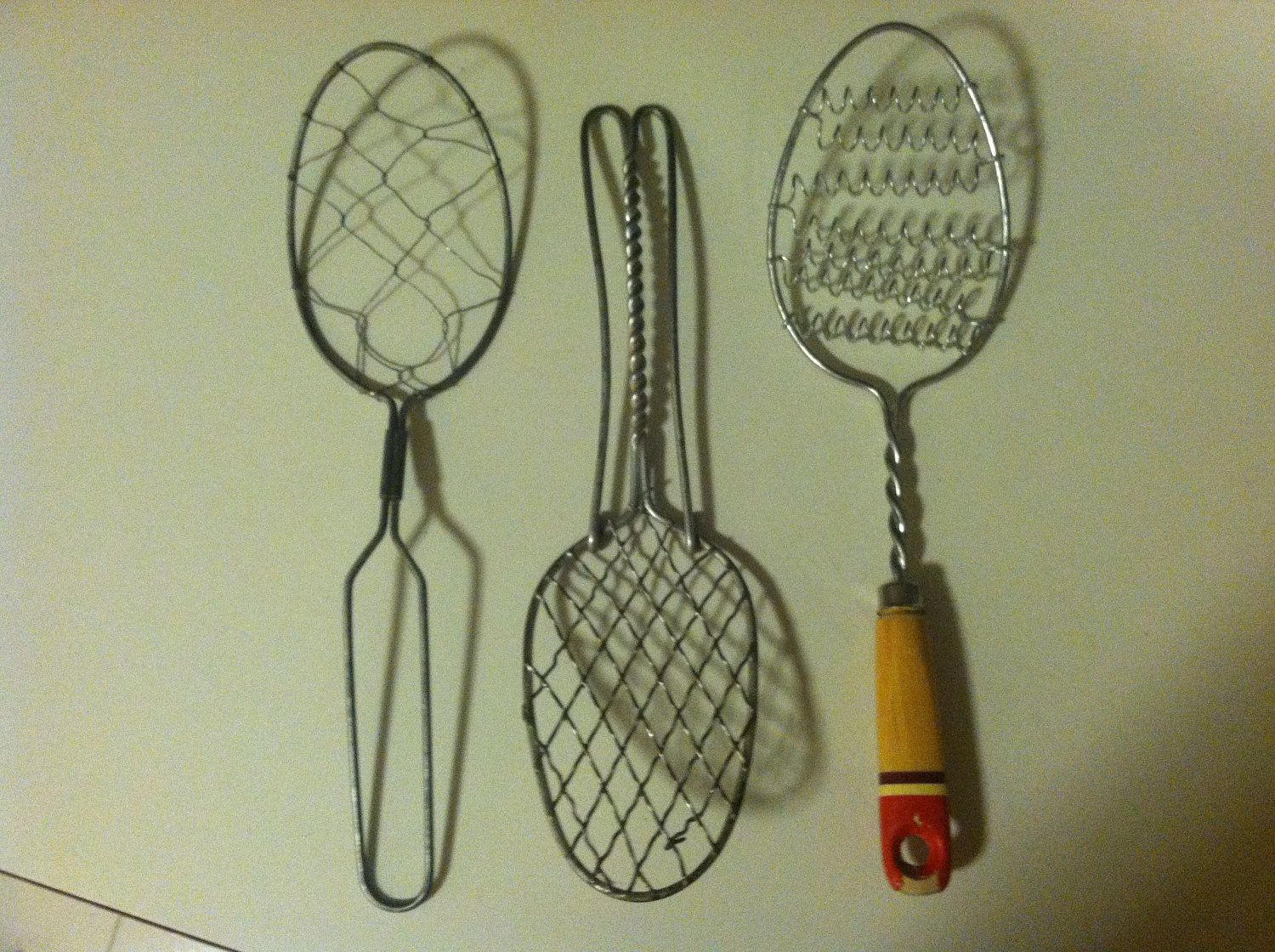 Three Primitive Antique Kitchen Utensil Wire Whisks Egg Scramblers