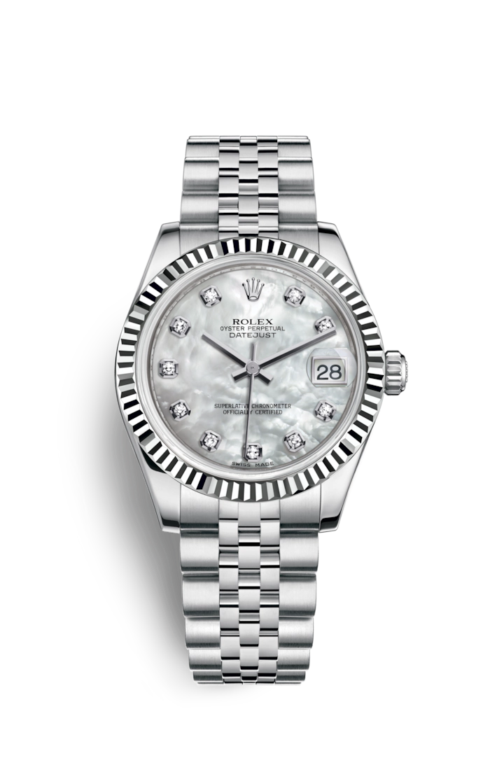 Rolex Datejust 31 Watch White Rolesor Combination Of Oystersteel And 18 Ct White Gold M178274 0042 Rolex Watches Women Diamond Watches Women Rolex Watches