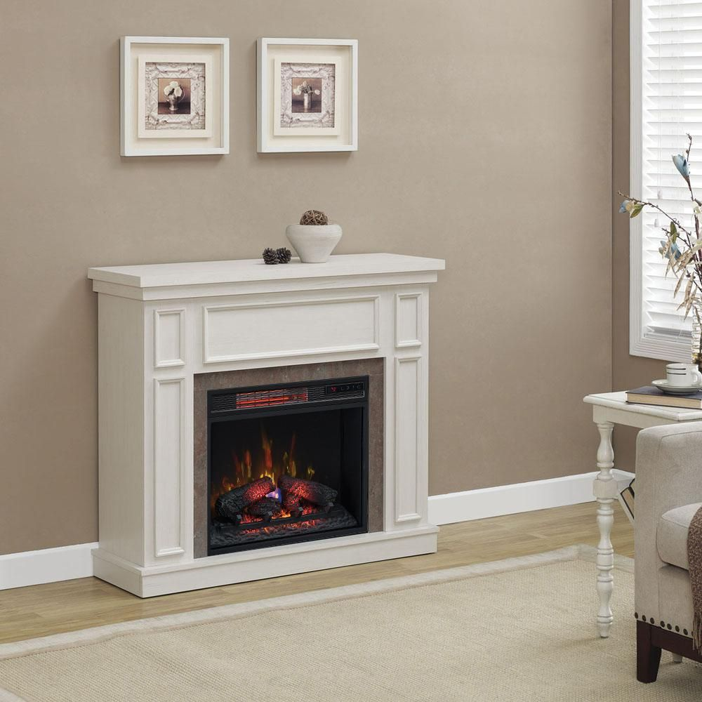 Home Decorators Collection Granville 43 In Convertible Mantel Electric Fireplace In Antique White With Faux Stone Surround 102990 The Home Depot Electric Fireplace White Fireplace Faux Fireplace