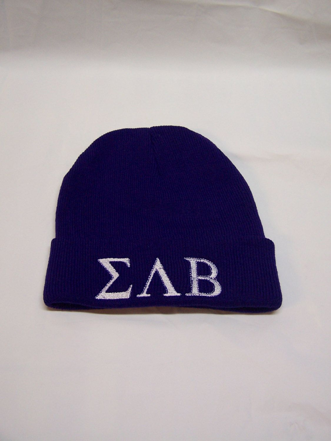 SIGMA LAMBDA BETA Purple Embroidered Greek Letter Monogrammed Acrylic Knit  Beanie by MoDessaDesigns on Etsy 05cd7f44cca