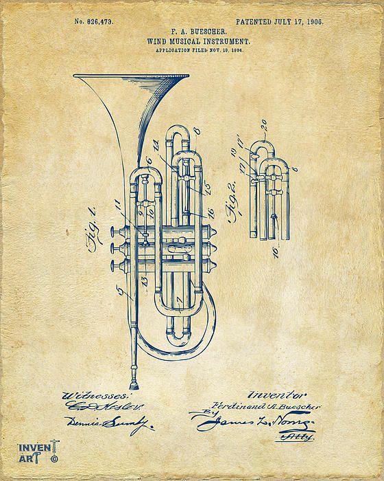 1906 Brass Wind Instrument Patent Artwork Vintage by Nikki Marie ...
