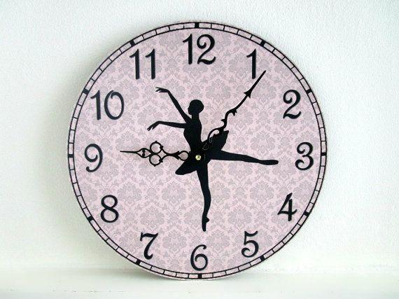 Ballerina Wall Clock Girls Room Decor Ballet Lover Gift Damask Wall Unique Wall Clocks Wall Clock