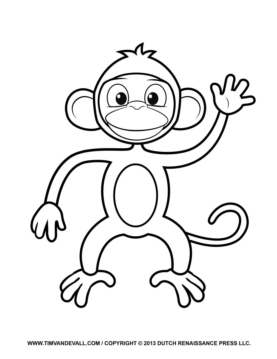Cartoon Monkey Coloring Pages for Kids - Enjoy Coloring | Animals ...