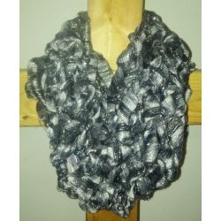 Loose Knit Ribbon Black & Silver Infinity Scarf