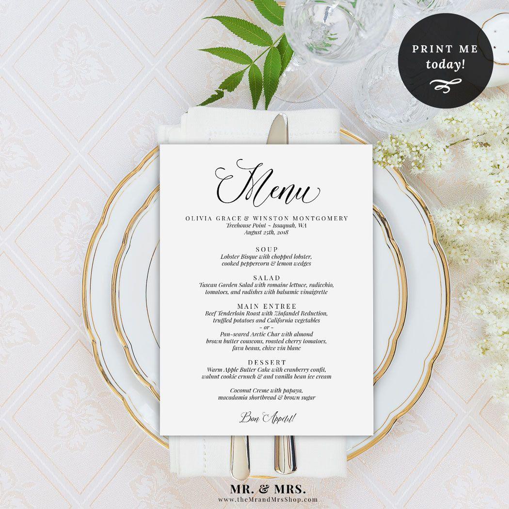 Wedding Menu Printable Template, Menu Template, Dinner