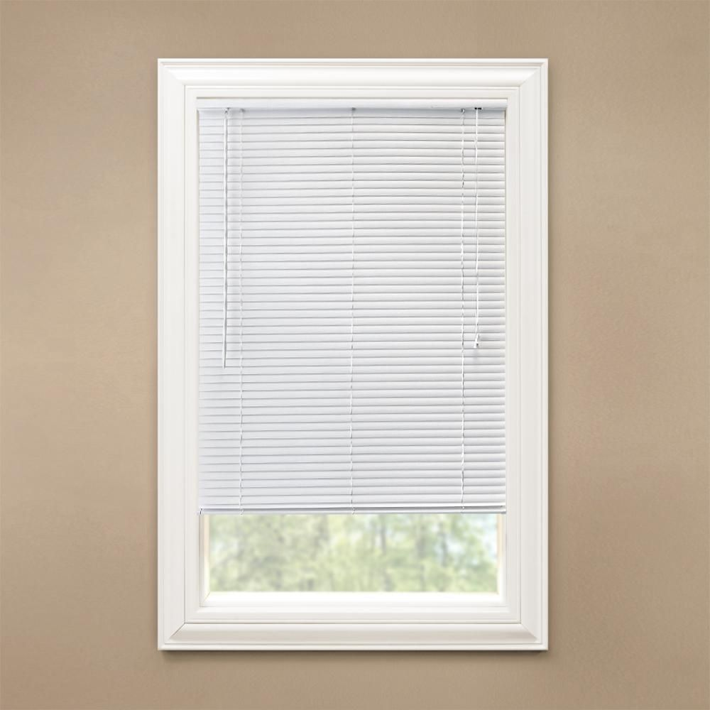 Hampton Bay White 1 In Room Darkening Vinyl Blind 36 5 In W X 72 In L Actual Size 36 In W X 72 In L 10793478387700 Vinyl Blinds Vinyl Mini Blinds Blinds