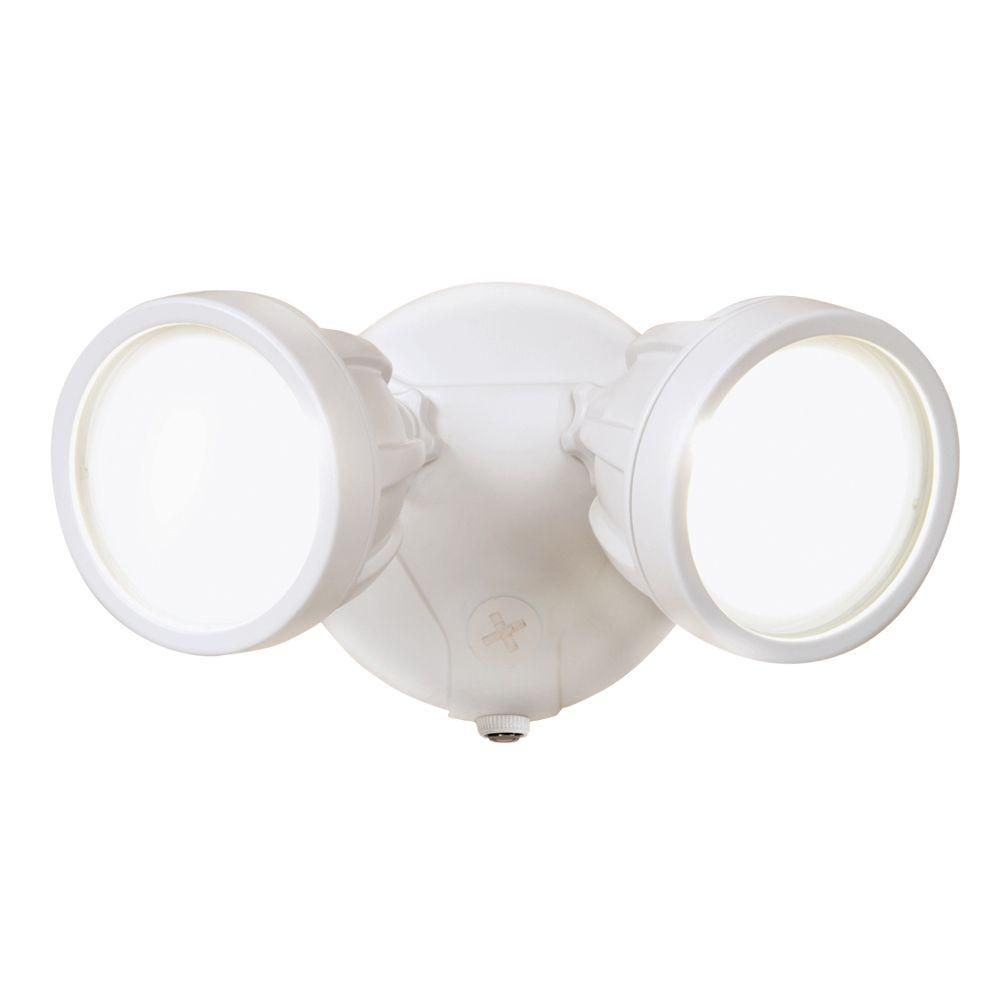 Halo White Outdoor Integrated Led Round Twin Head Security Flood