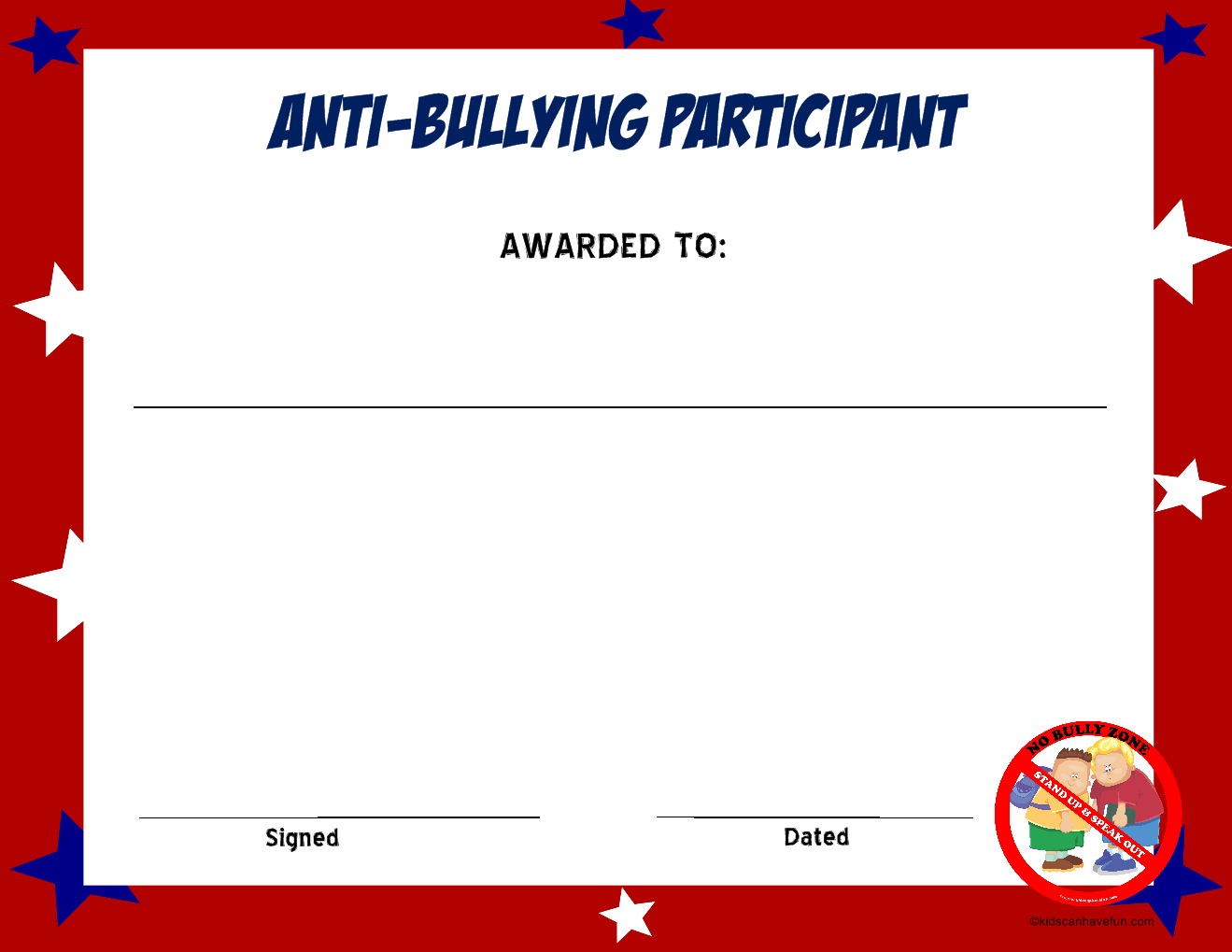 Anti Bullying Participant Certificate
