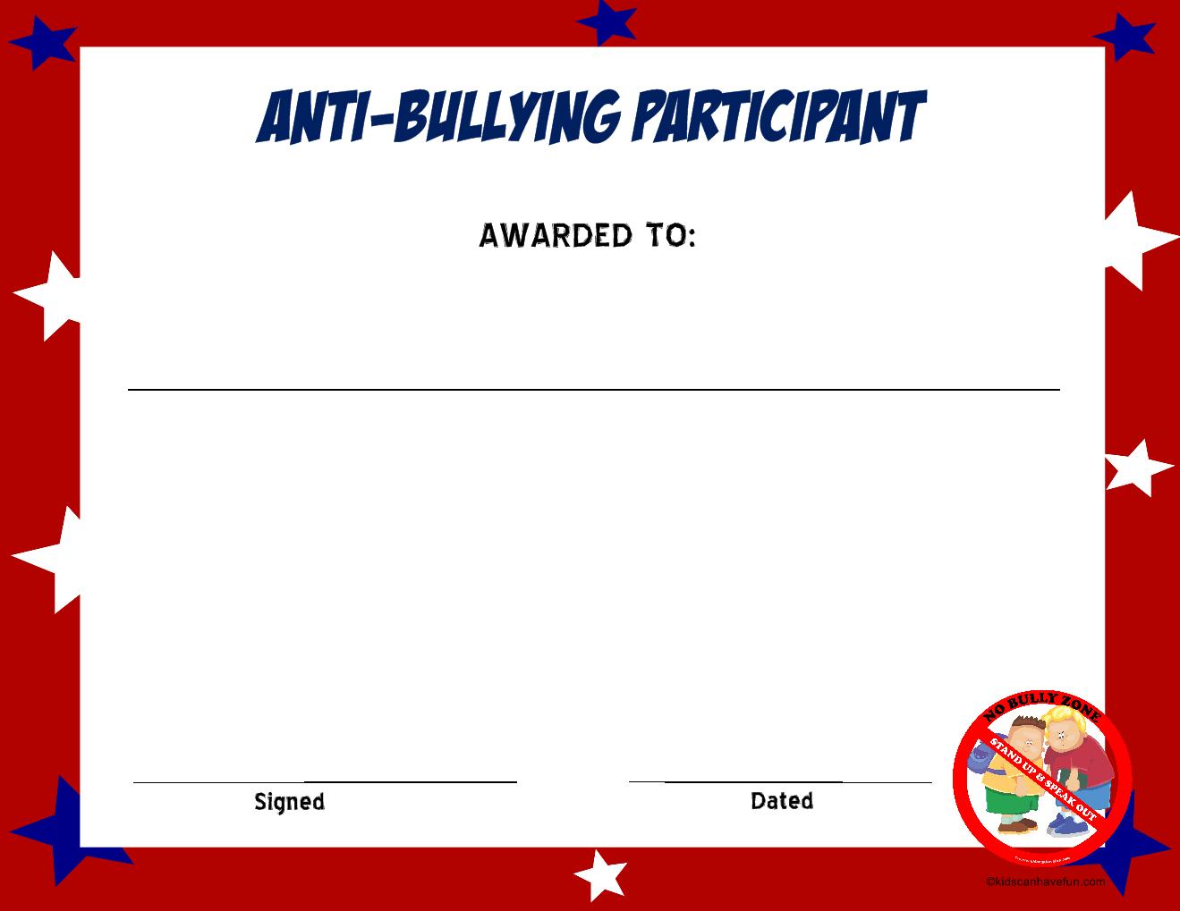Anti Bullying Participant Certificate