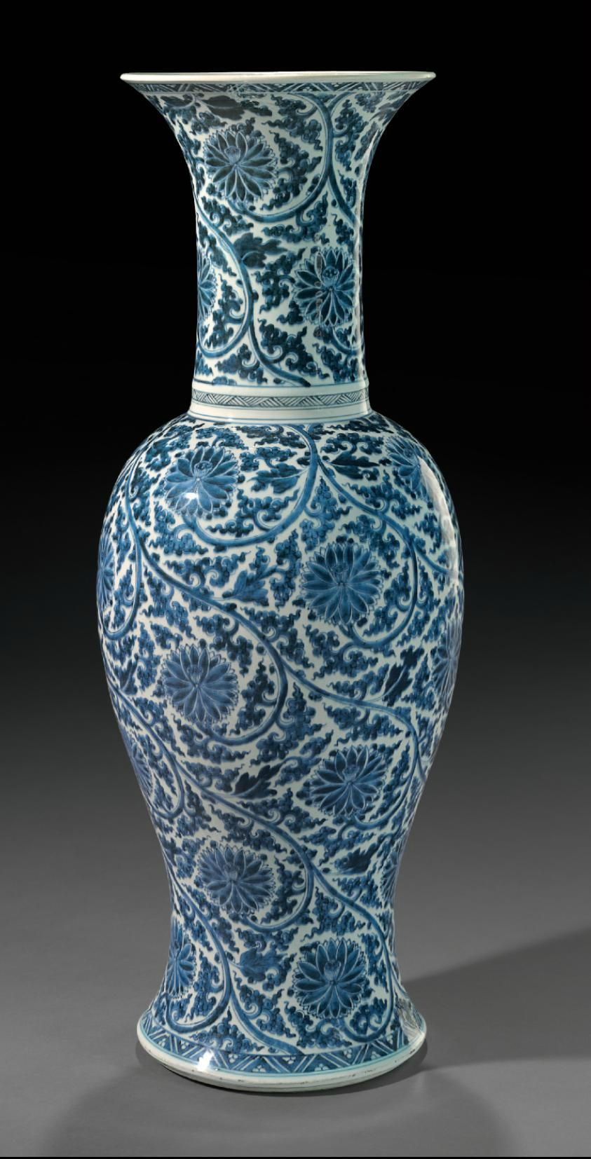 A blue and white phoenix tail' vase, Kangxi period (1662-1722)