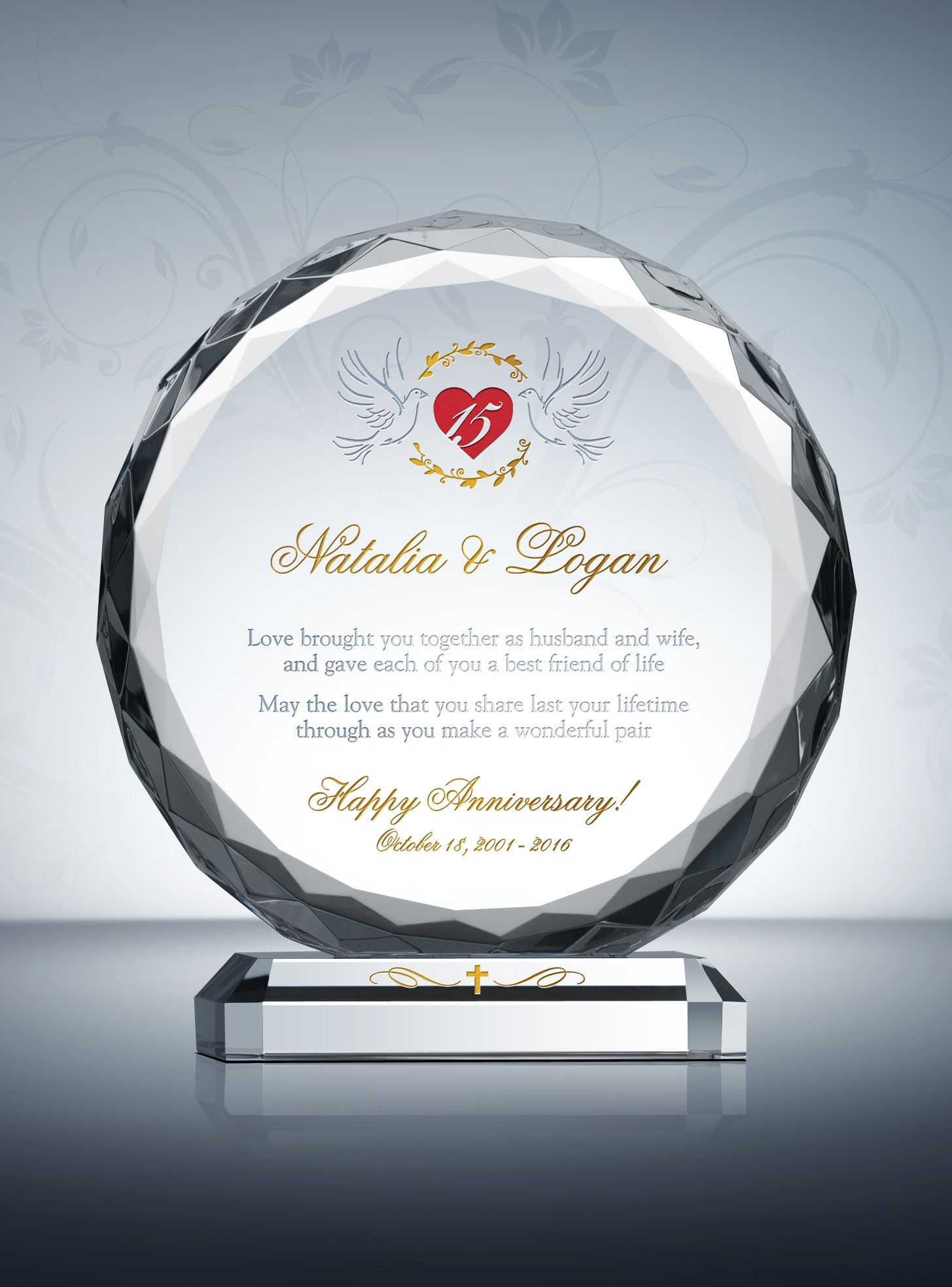 15th Crystal Wedding Anniversary Gifts Wedding Anniversary Gifts