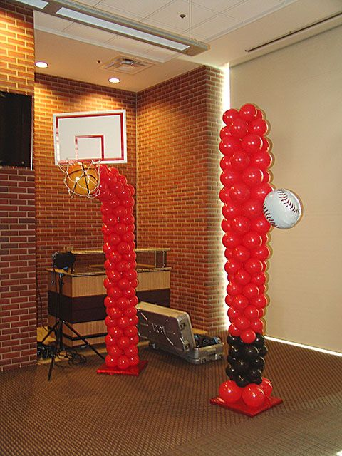 Basketball Goal And Baseball Bat Balloon Sculptures How Cute For Pictures